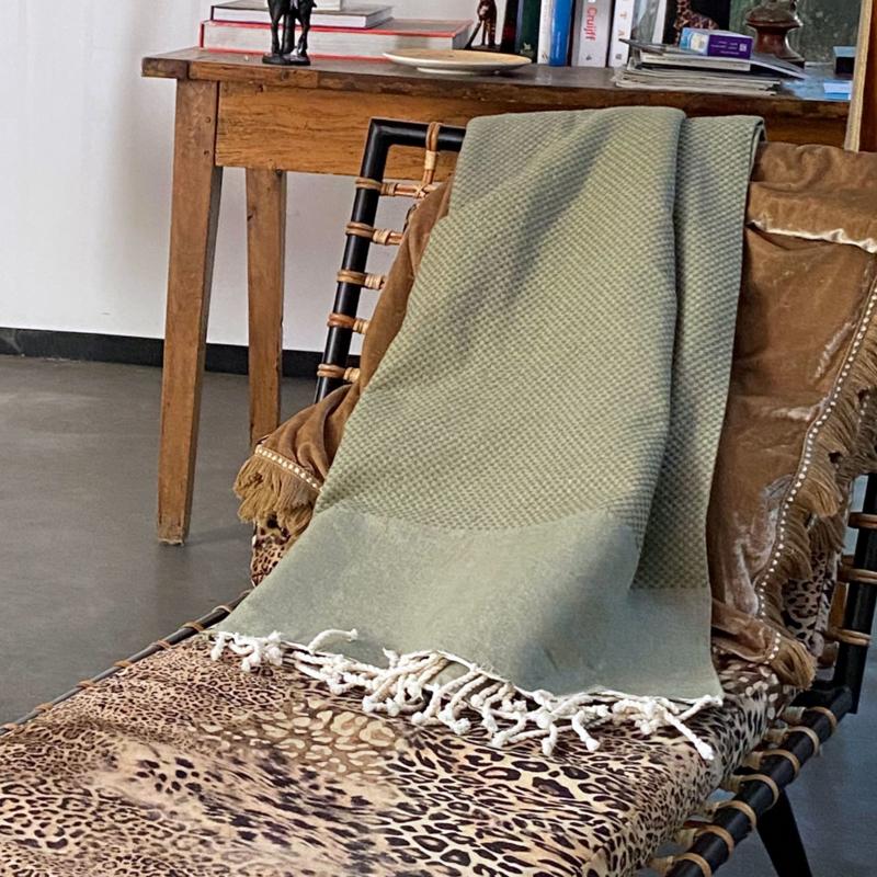 Plaid of grand foulard Wafel katoen - Olijf Groen - 190x300cm (LANTARA)