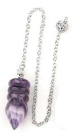 Amethyst pendel met ringen
