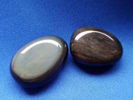 Edelsteen druppel Obsidiaan regenboog - plat