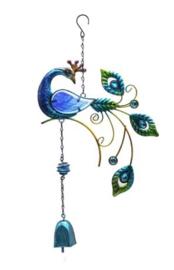 Pauw met blauwe bel