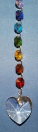 Chakra hanger hart met octagon kralen