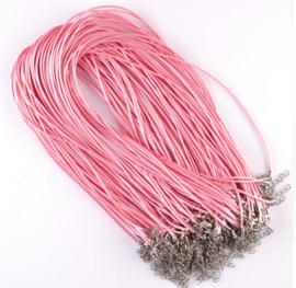 Wax koord 1,5mm Halsketting met slotje - rose