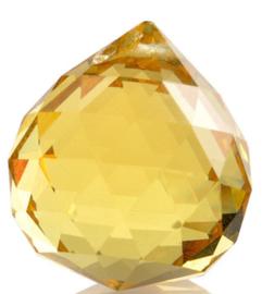 """Kristal raamhanger """"Bol"""" 3 cm - Geel"""