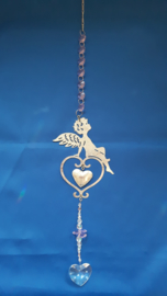 Engel met hart en rose octagon kralen