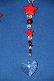 Sterren rood + loodkristallen hartje