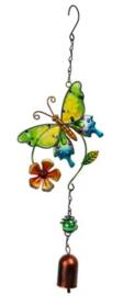 Vlinder schuin - geel/groen, oranje bloem en bel
