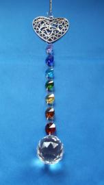 Chakra hanger met octagon kralen + open hart