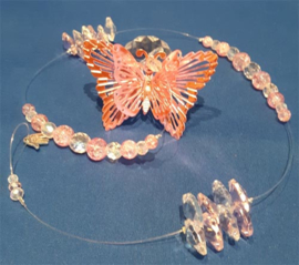 Vlinder roze met witte 3cm bol