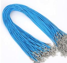 Wax koord 1,5mm Halsketting met slotje - helder blauw