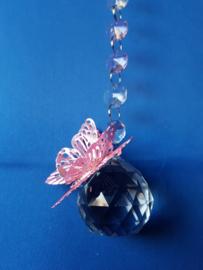 Vlinder roze met 4cm bol