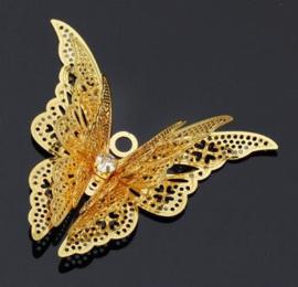 Vlinder sierlijk 2d metaal - klein lang - goud kleurig