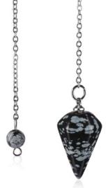 Sneeuwvlok obsidiaan pendel mini