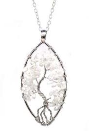 Levensboom hanger Bergkristal ovaal met ketting