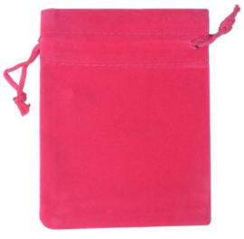 Roze donker / Fuchia fluwelen zakje groot
