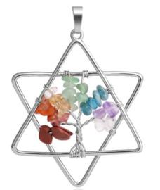 Chakra levensboom hanger pentagram