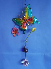 Vlinder schuin - lila bloem en 3cm bol