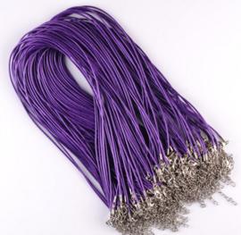 Wax koord 1,5mm Halsketting met slotje - paars