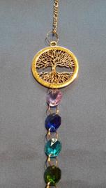 Chakra hanger met octagon kralen + levensboom met wortels