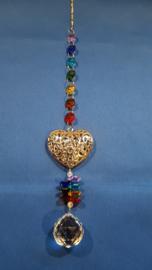 Chakra hanger met zilveren hart