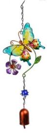 Vlinder schuin - lila bloem en bel