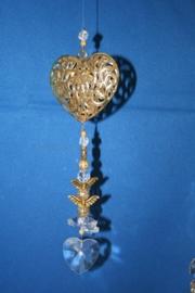 Gouden hart + loodkristallen hartje