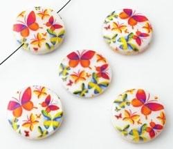 Parelmoer kraal met vlinders - multicolor