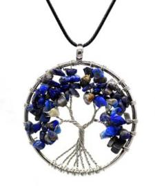 Levensboom hanger Lapis Lazuli met wax koordje