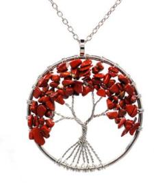 Levensboom hanger Jaspis met ketting