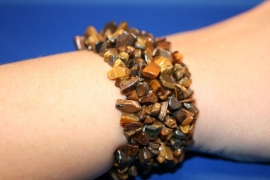 Split armband breed - Tijgeroog