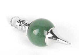 Aventurijn Groen pendel bol - met zilverkleurige ketting