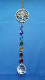 Chakra hanger met octagon kralen + levensboom goud