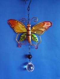 Vlinder oranje/geel met 3cm bol