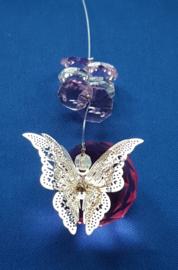 Vlinder zilver met rose