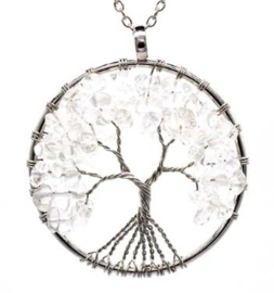 Levensboom hanger Bergkristal met ketting