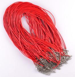 Wax koord 1,5mm Halsketting met slotje - rood