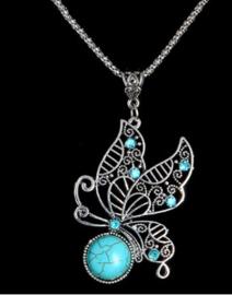 Vlinder met ketting - zilverkleurig