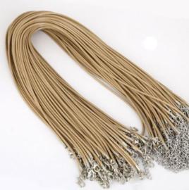 Wax koord 2mm Halsketting met slotje - Creme/beige