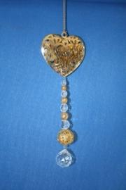 Gouden hart + loodkristallen bolletje 2cm