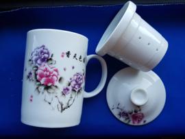 Thee beker - bloemen roze