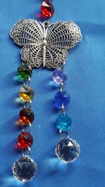 Chakra hanger met vlinder en dubbele bol