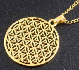 Flower of life incl. ketting - goud