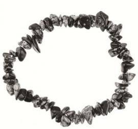 Split armband - Sneeuwvlok Obsidiaan