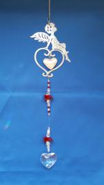 Engel met hart en rode octagon kralen