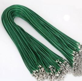 Wax koord 2mm Halsketting met slotje - Donker Groen