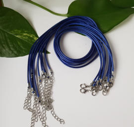 Wax koord 2mm Halsketting met slotje - Donker Blauw