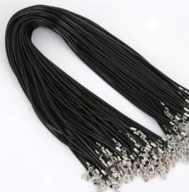 Wax koord 2mm Halsketting met slotje - zwart