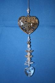 Zilveren hart + loodkristallen hartje