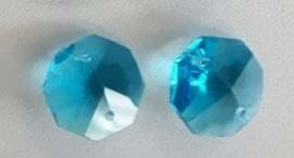 Octagon kraal - licht blauw