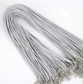 Wax koord 2mm Halsketting met slotje - grijs