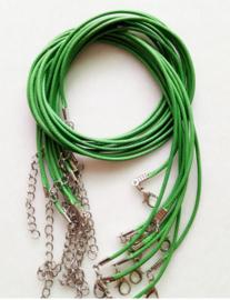 Wax koord 1,5mm Halsketting met slotje - Groen